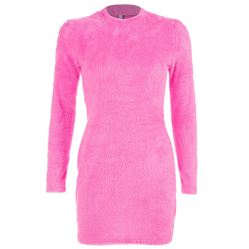 Mock Neck Mohair Bodycon Dress