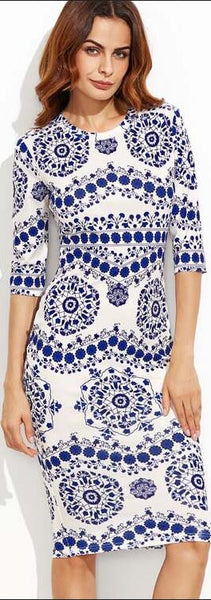 Digital Printing Blue And White Porcelain Slim Dress