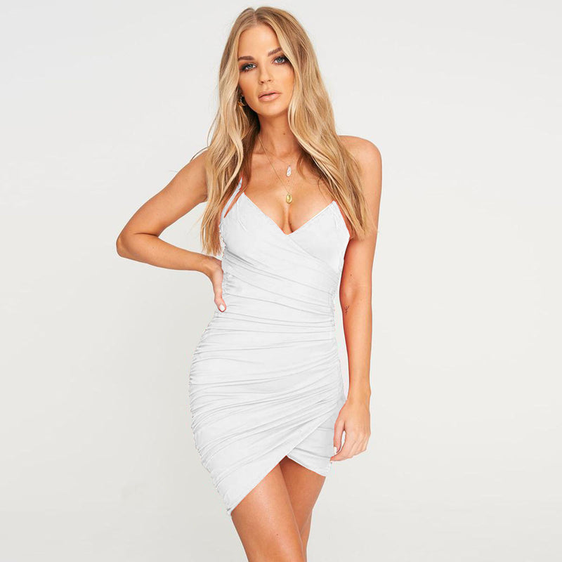Spaghetti Strap Empire Waist Backless Ruched Dress
