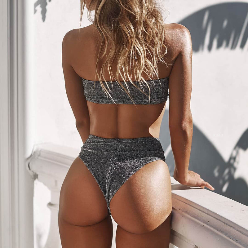 Gray High Rise Sparkle Thong Bottom Tube Bikinis
