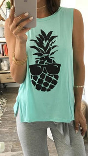 Scoop Sleeveless Pineapple Print Split Casual Vests - Meet Yours Fashion - 1