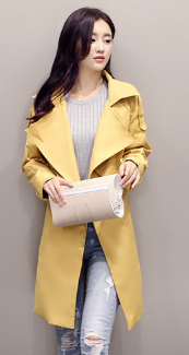 Solid Lapel Pockets Slim Long Coat - Meet Yours Fashion - 5
