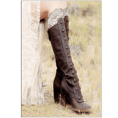 Leather High Heel Rivet Knee High Boots