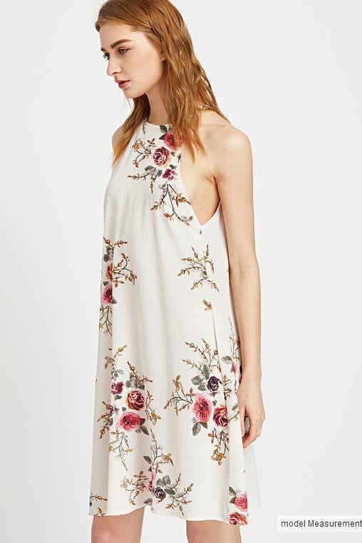 Bear-Shoulder-Scoop-Floral-Print-Loose-Short-Dress