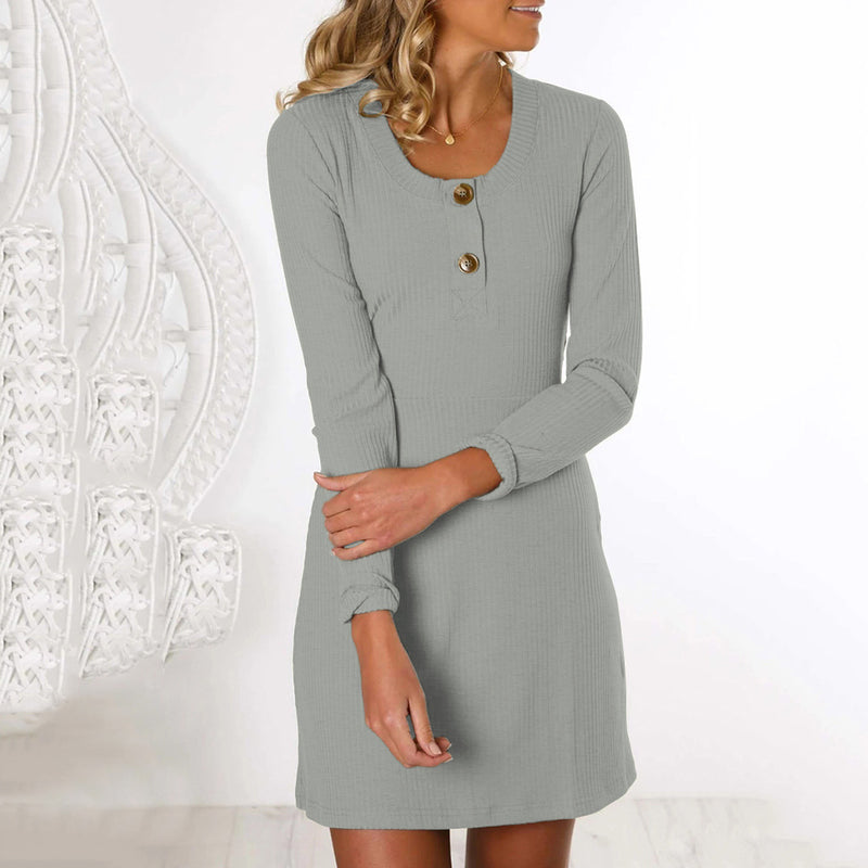 O Neck Button Loose Long Sleeve Mini Dress