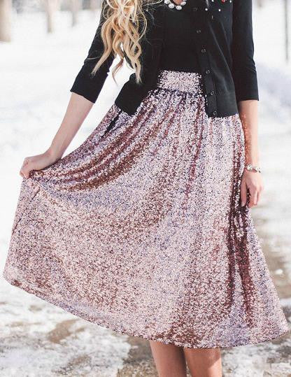 Sequin High Waist Flared Fashion Middle Skirt - Meet Yours Fashion - 1