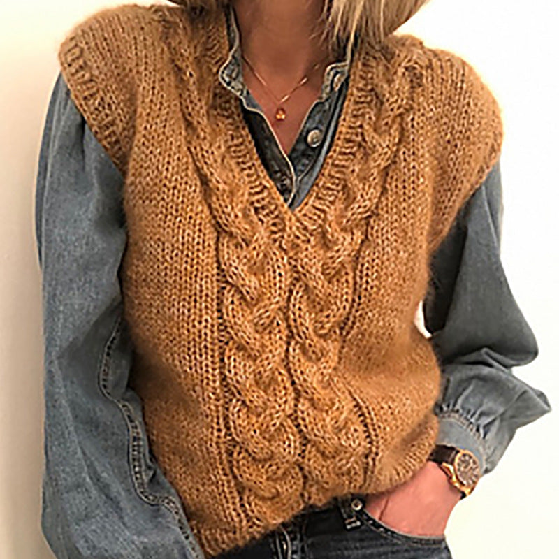 Cable Knitted Vest Sweater