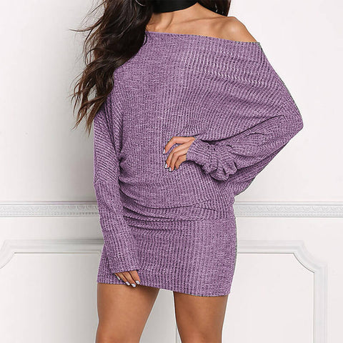 Boat Neck Batwing Sleeve Knit Dress