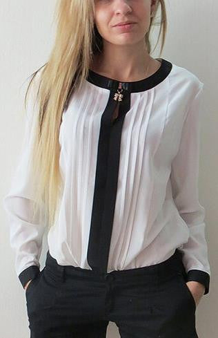 Scoop Long Sleeves Patchwork Ruffled Slim Chiffon Blouse