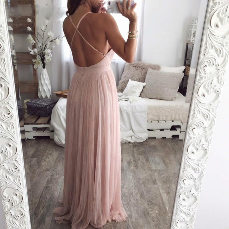 Back Cross Deep V Neck Floor Length Dress