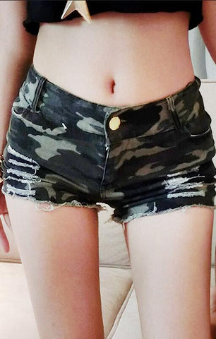 Fashion Camouflage Ripped Low Waist Women's Denim Shorts
