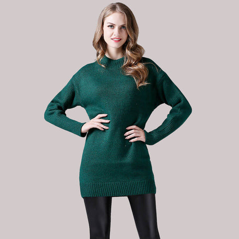 Crewneck Pullover Long Sleeved Sweater Dress