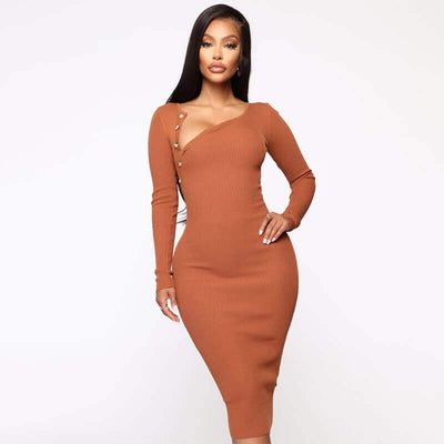 Tight Plain Bodycon Knit Dress