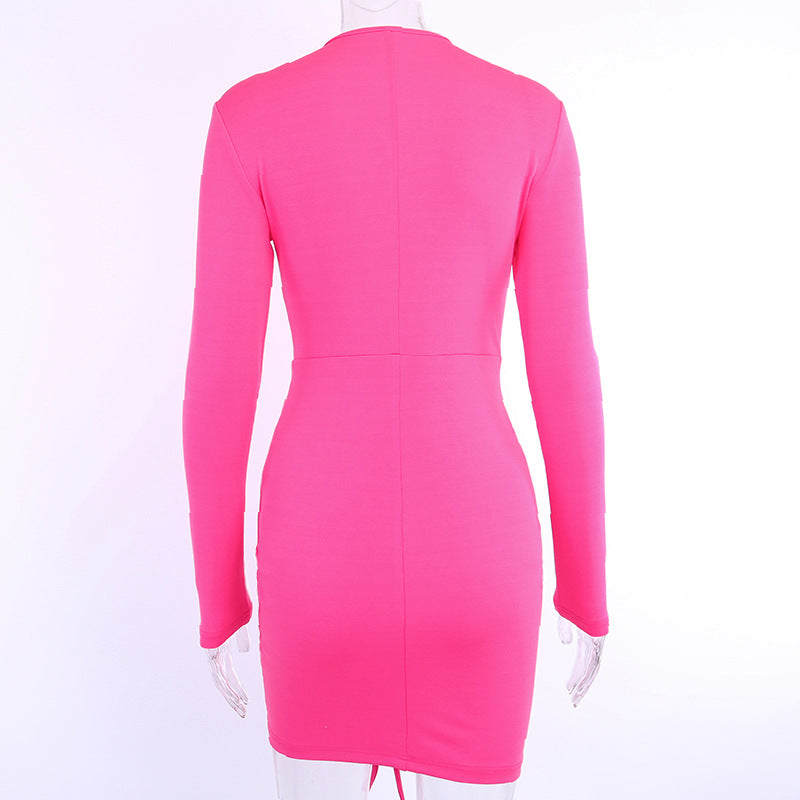 Plain Bodycon Long Sleeve Corset Wrap Dress
