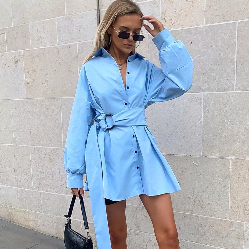 Plain Button Long Sleeve Belt Shirt Dress