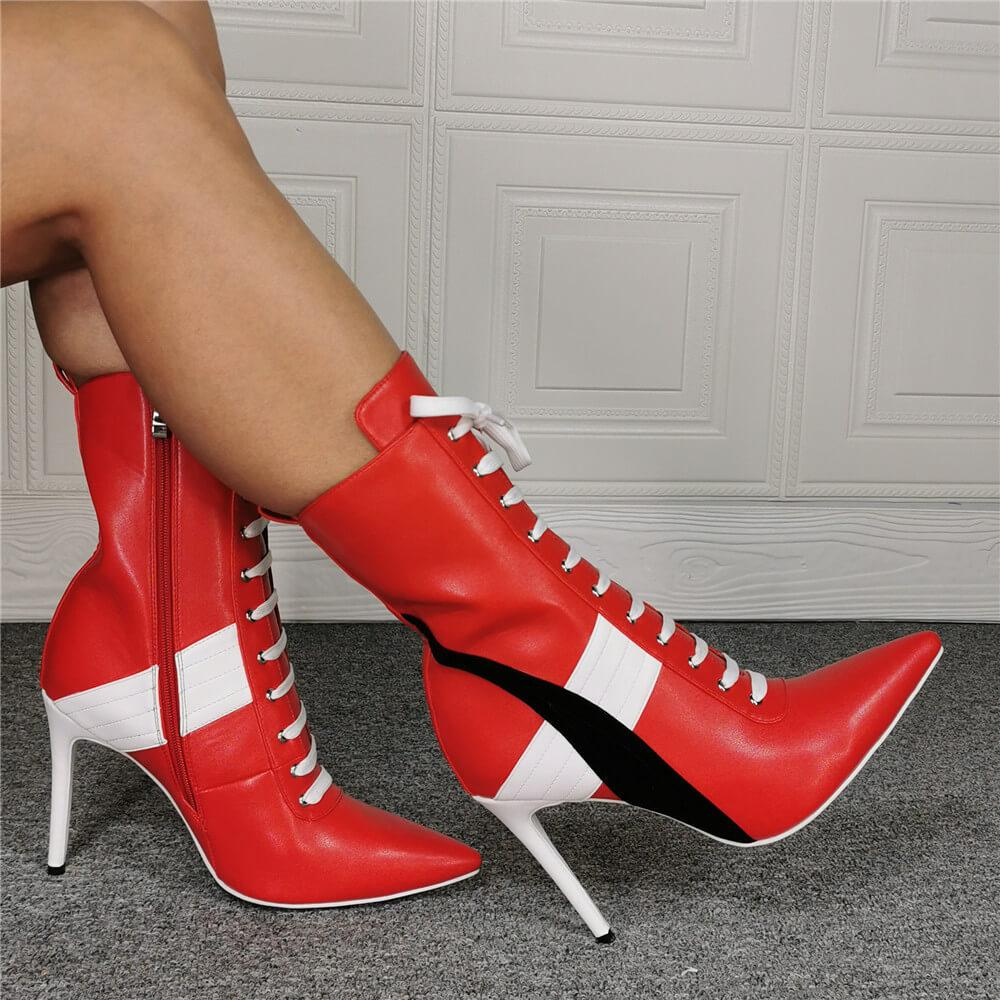 Red PU Point Toe Strap High Heel Calf Boots