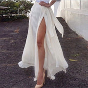 White Chiffon High Split Pleated Falbala Long Skirt