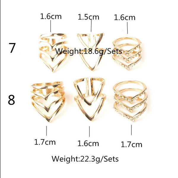 Personality Fashion Crystal V Suit Ring