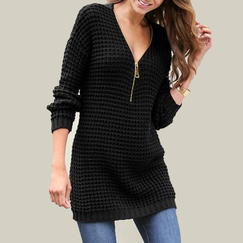 Half Zipper Crochet Sweater Dress