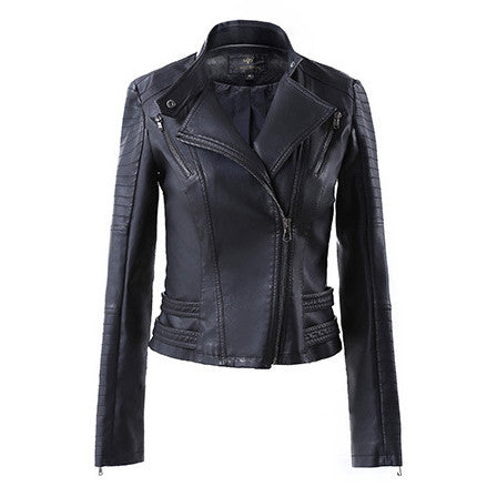 Lapel Stand Collar Zipper Slim Crop Jacket - Meet Yours Fashion - 5