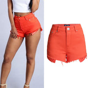 High Waist Candy Color Women's Slim Shorts