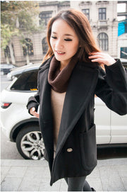 Double Breasted Lapel Solid Long Thick Coat - Meet Yours Fashion - 4