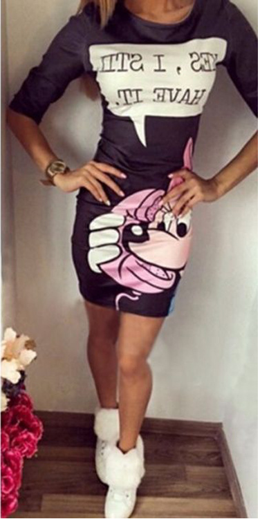 Cartoon Print Mid Sleeves Bodycon Dress - Meet Yours Fashion - 2
