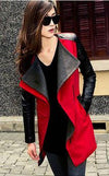 Lapel Casual Patchwork Slim Mid-length Woolen Coat - Meet Yours Fashion - 5