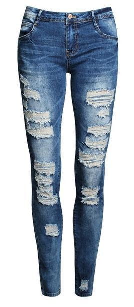 Ripped Beggar Street Straight Elastic Slim Jeans - Meet Yours Fashion - 2