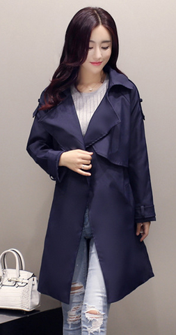 Solid Lapel Pockets Slim Long Coat - Meet Yours Fashion - 4