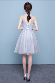 Scoop Tulle Mesh Patchwork Pleated High Waist Short Party Bridesmaid Dress