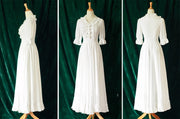 Princess A-line Bowknot Half Sleeves Ruffles Long White Dress - MeetYoursFashion - 8