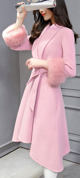 Fox Wool Sleeve Edge Turn-down Collar Long Coat With Belt