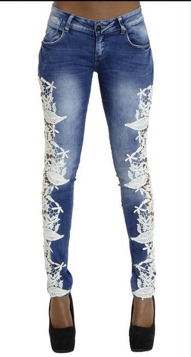 Lace Patchwork Hollow Skinny Straight High Waist Jeans - Meet Yours Fashion - 3