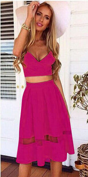 Spaghetti Strap Patchwork Crop Top with Long Skirt Two-piece Dress - MeetYoursFashion - 8