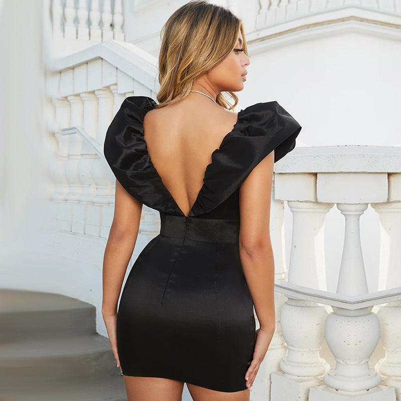 Party Backless High Waist V Neck Bodycon Dress