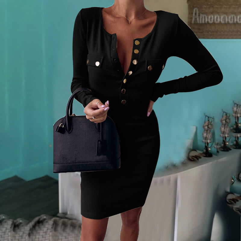Long Sleeve Ribbed Bodycon Dress