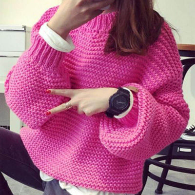 Oversized Crewneck Crochet Pullover Sweater