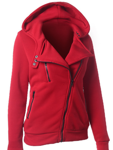 Slide Zipper Pure Color Hooded Lapel Hoodie - Meet Yours Fashion - 1