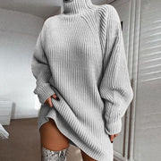 Loose Turtleneck Balloon Sleeve Sweater Dress