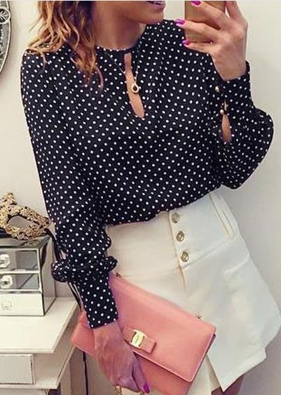 Black And White Dots Printed Long Puff Sleeves Scoop Blouse - Meet Yours Fashion - 2