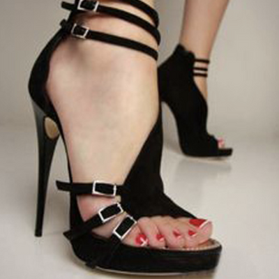 Black Suede Open Toe Buckle Cutout Sandals