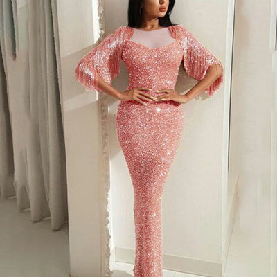 Shinning Sequins Half Tassels Sleeve Long Mermaid dress