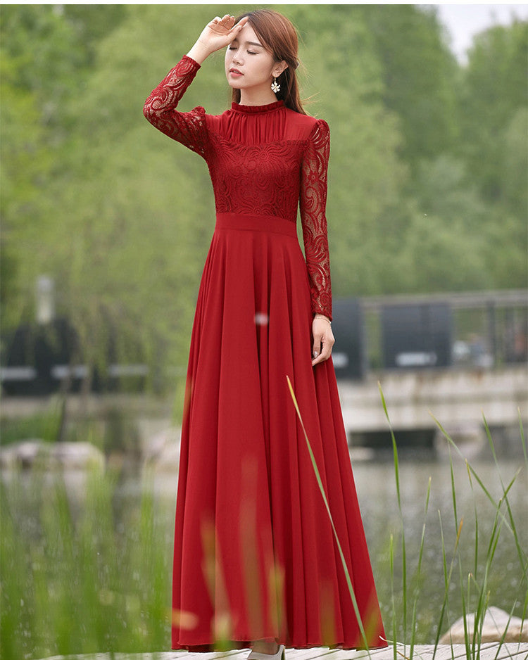 Charming Long Lace Sleeves Pleated Chiffon Long Red Maxi Dress - MeetYoursFashion - 2