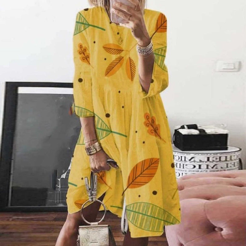 Summer Long Sleeve Loose Leaves Print Dress