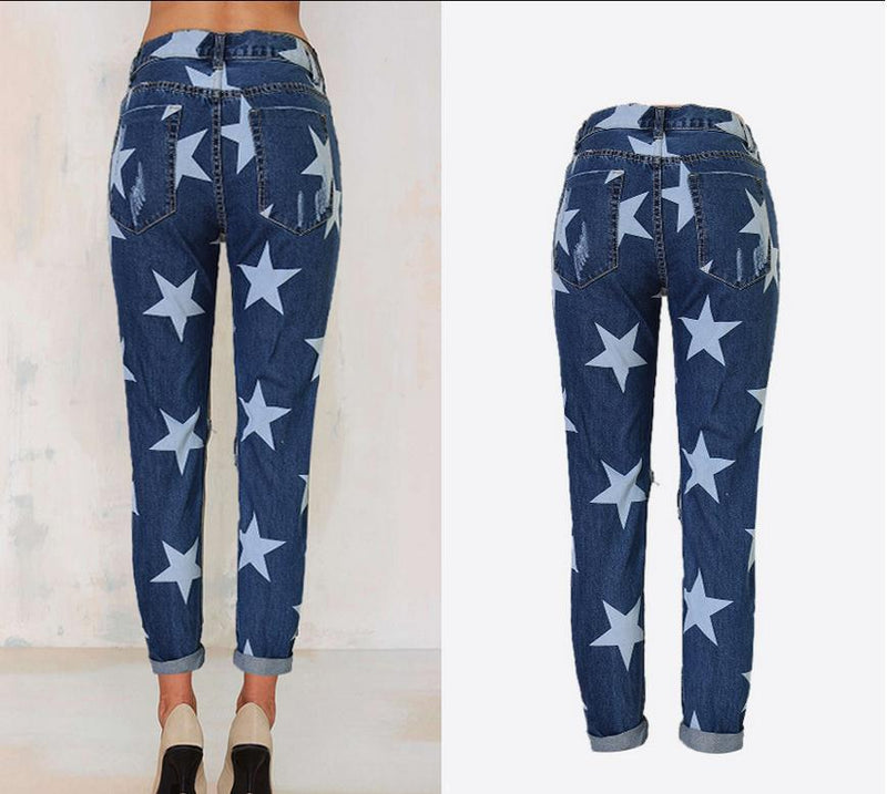Holes Star Printed Beggar Casual Straight Jeans - Meet Yours Fashion - 5