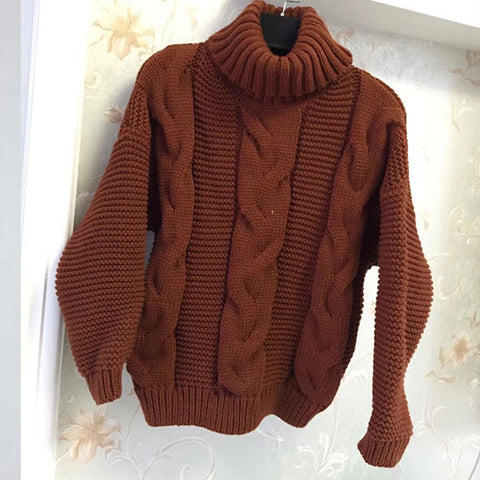 Turtleneck Cable Knitted Chunky Sweater