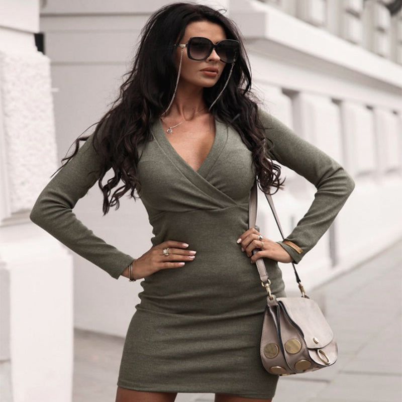 Plain V Neck Bodycon Long Sleeve Dress