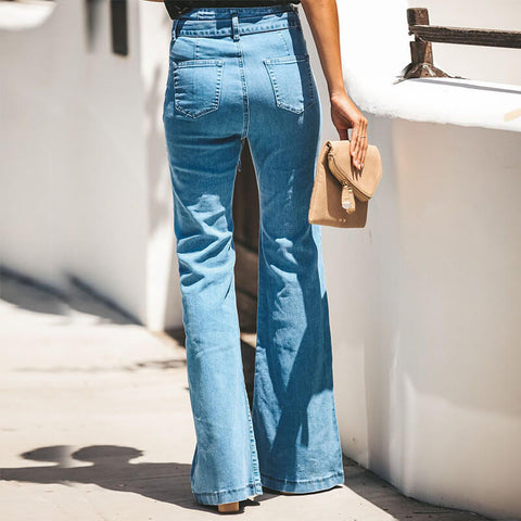 Flare High Waist  Stretch Jeans Waist Pants
