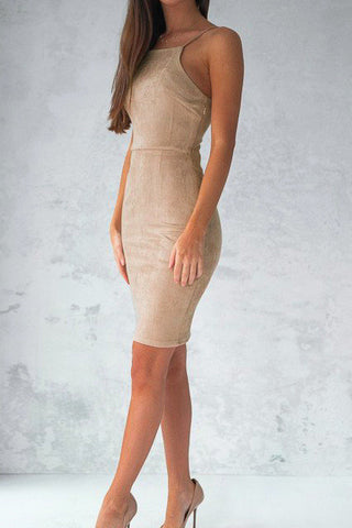 Spaghrtti Strap Backless Sleeveless Solid Sheath Short Dress